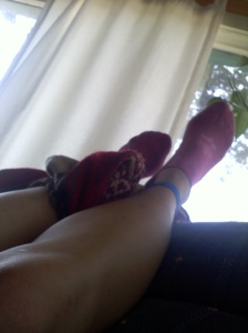 My favorite socks: legs up!